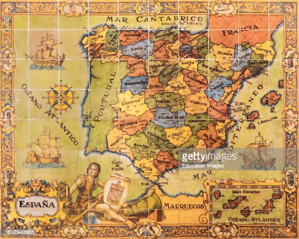 Ceramic tiled map of Spain showing provinces, oceans and neighboring countries, ticket and information office of the Alcazar, Segovia, Segovia...