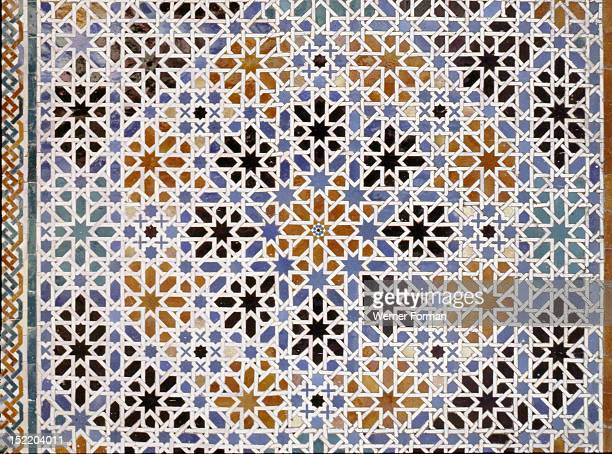 Ceramic tiles from the Alcazar of Seville Imitations of those at the Alhambra Palace Granada Spain Islamic 14th century Seville