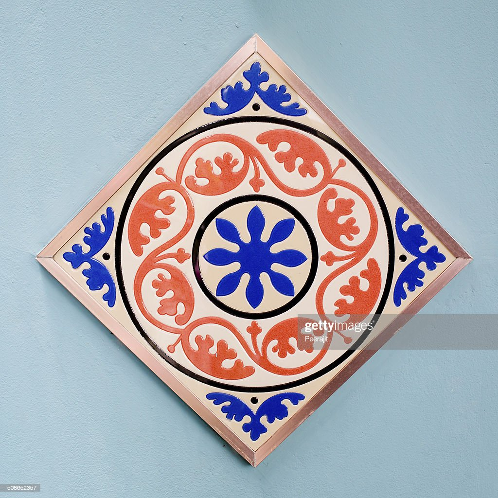 ceramic tiles patterns colorful style. : Stock Photo