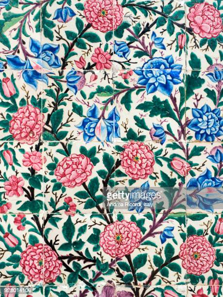 ceramic tiles with flowers, shiraz, iran - floral pattern stock pictures, royalty-free photos & images
