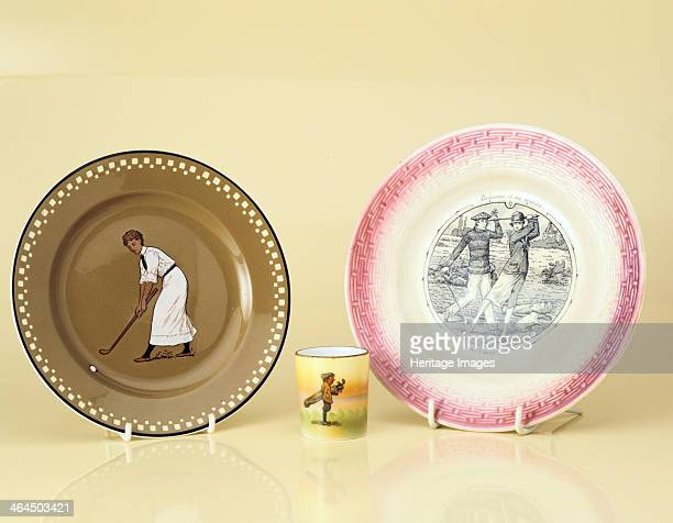 Ceramics with a golfing theme 19051920s Left to right handpainted Willerdy and Boch plate Dresden German 1905 handpainted Nippon shot glass Japanese...