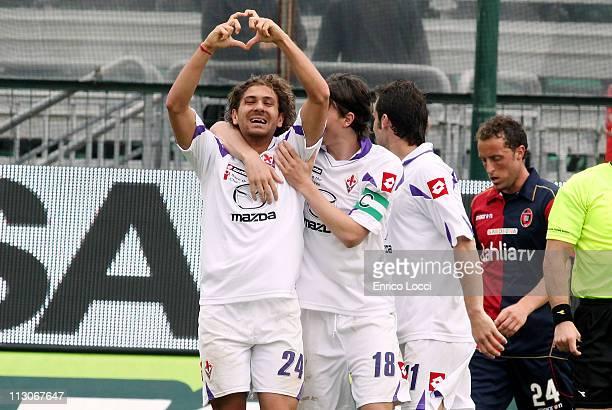 Cerci Alessio of Fiorentina celebrating the goal 12 during the Serie A match between Cagliari Calcio and ACF Fiorentina at Stadio Sant'Elia on April...
