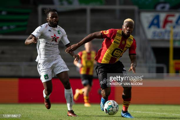 Cercle's Johanna Omolo and Mechelen's William Togui pictured in action during a soccer match between KV Mechelen and Cercle Brugge KSV, Saturday 22...