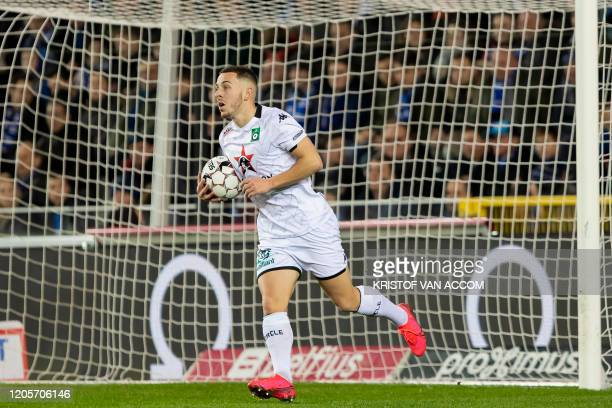 Cercle's Kylian Hazard pictured after scoring during a soccer match between Club Brugge KV and Cercle Brugge KSV Saturday 07 March 2020 in Brugge on...