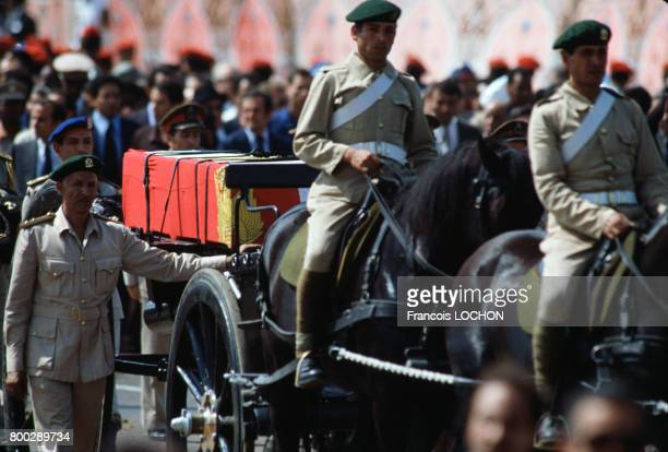 Cercueil du président Anouar elSadate à ses obsèques le 9 octobre 1982 au Caire en Egypte