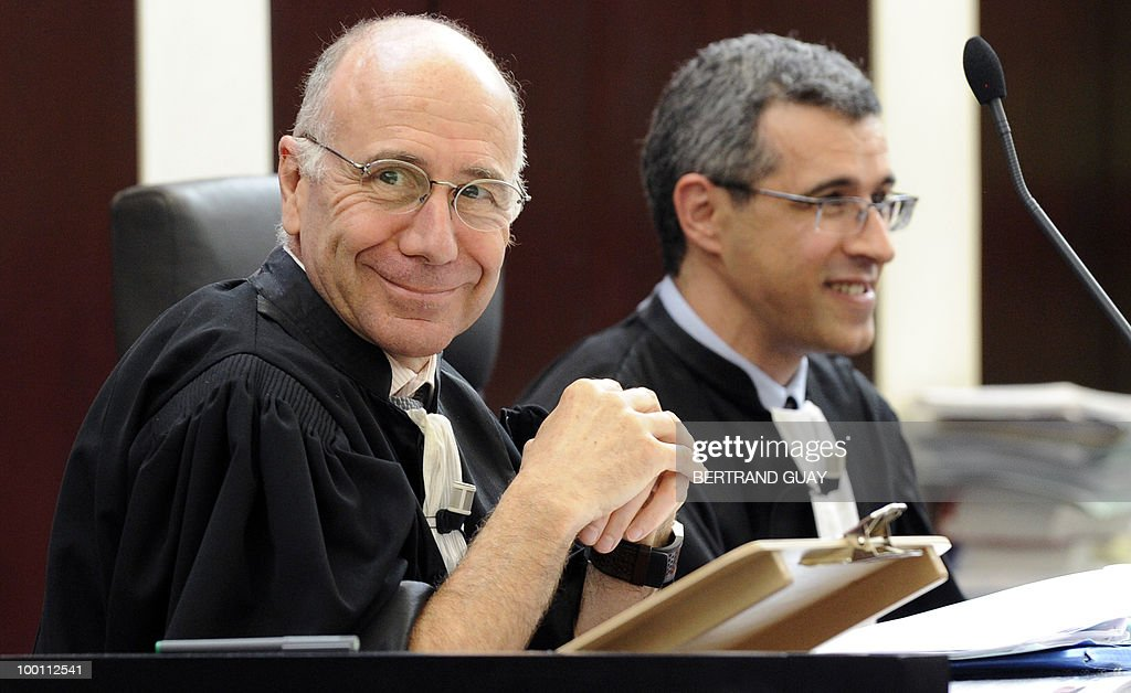 Cercy-Pontoise's prosecutor Bernard Farret and his substitute Jean-Pascal Oualid (R) are seen on May 21, 2010 at Pontoise courthouse, on the day of the closing speech for the prosecution during the trial to determine who was to blame for the 2000 Concorde disaster that killed 113 people, most of them German tourists, and four hotel workers on the ground. The trial opened with French engineers who built the Concorde in the dock alongside Continental Airlines mechanics accused of causing the crash that sounded the death knell for supersonic travel.