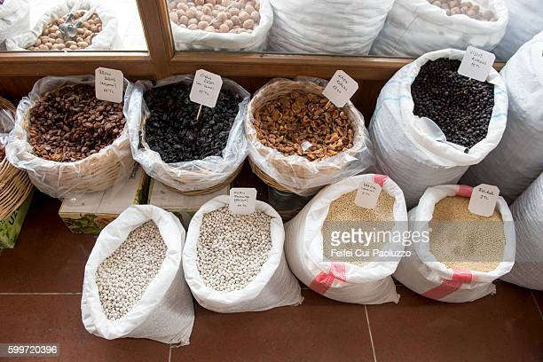 Cereal Grain and Dried fruits for sale at Torul of Gümüşhane Province in the Black Sea region of Turkey.
