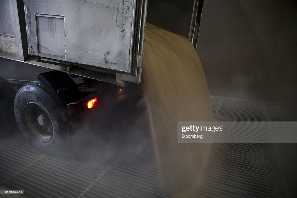 Cereal grains pour from a delivery truck in a warehouse at the Groupe Soufflet plant in Nogent-sur-Seine, France, on Tuesday, Dec. 4, 2012. European Union corn imports may be the second-highest on record this season after drought parched crops and a surge in wheat exports curbed domestic grain supply. Photographer: Balint Porneczi/Bloomberg via Getty Images