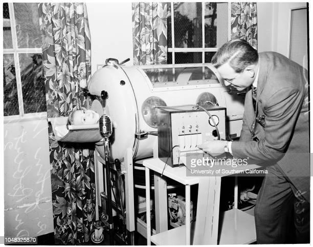 Cerebral Palsy 13 February 1953 Doctor Robert Harrington John Troost Mrs Ruby Colwell Caption slip reads 'Photographer Monteverde Date Reporter...