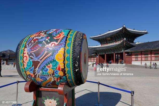 Ceremonial Drum at Gyeongbokgung Palace Grand Palace Seoul South Korea Asia