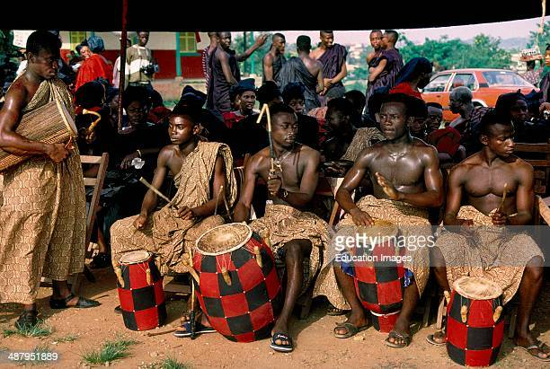 Ceremonial drummers at a funeral in Kumasi, the capitol of the Ashanti Region of Ghana, West Africa.
