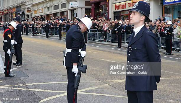Ceremonial funeral with military honour guard of the late Baroness Margaret Hilda Thatcher , the longest serving British Prime Minister of the 20th...