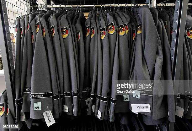 Ceremonial guard coats hang in a stockroom before being distributed to young men on their first day of compulsory military service in the German...