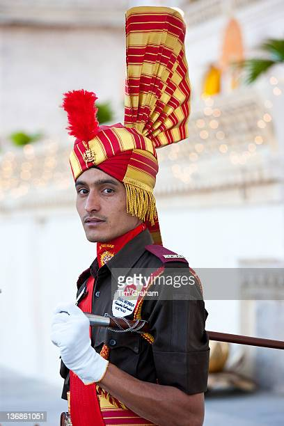 Ceremonial guard Jai Mewar of 76th Maharana of Mewar His Highness Shriji Arvind Singh Mewar of Udaipur at the City Palace Rajasthan India