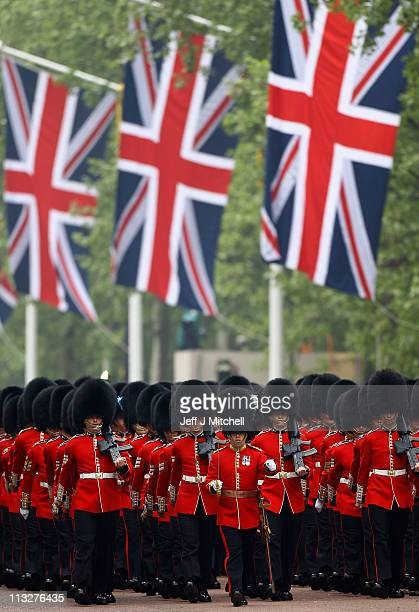 Ceremonial guards perform in the Mall on the day of the Royal Wedding of Their Royal Highnesses Prince William Duke of Cambridge and Catherine...