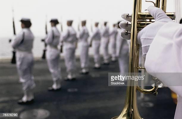 Ceremonial Honor Guard members at sea burial