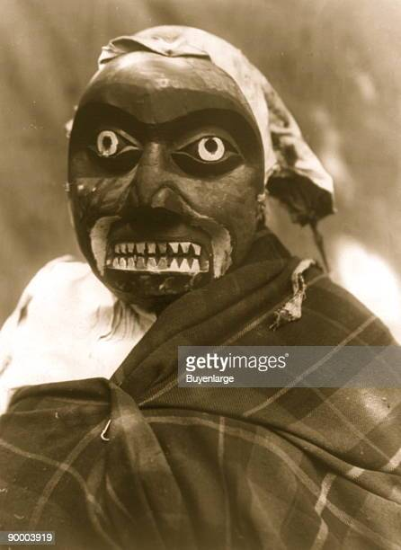 Ceremonial mask worn by a dancer portraying the hunter in Bella Bella mythology who killed the giant maneating octopus The dance was performed during...