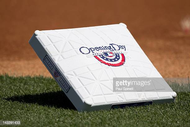 A ceremonial opening day base lies waiting in the infield for the Los Angeles Dodgers game against the Pittsburgh Pirates on Tuesday April 10 2012 at...