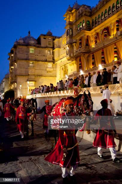 Ceremonial parade of 76th Maharana of Mewar, Shriji Arvind Singh Mewar of Udaipur, at Holi Fire Festival, City Palace, Rajasthan, India