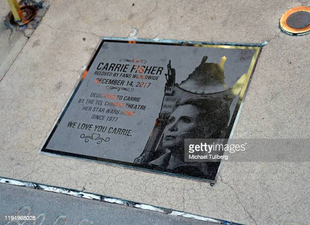 """Ceremonial plaque honoring the late actress Carrie Fisher at the IMAX opening of """"Star Wars: The Rise Of Skywalker"""" at TCL Chinese Theatre on..."""