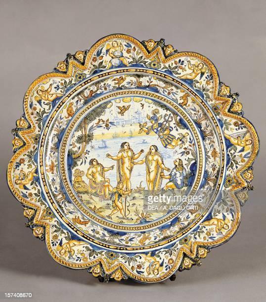 Ceremonial plate depicting the Judgement of Paris, ceramic, Albisola manufacture, Liguria. Italy, 17th century. Milan, Castello Sforzesco, Civiche...