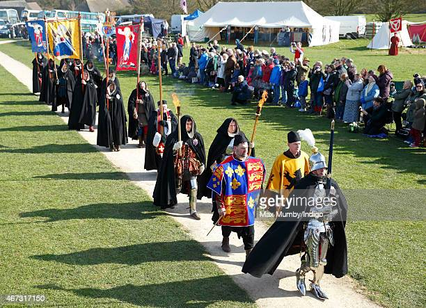A ceremonial procession arrives ahead of the coffin carrying King Richard III for a service at Bosworth Battlefield Heritage Centre on March 22 2015...