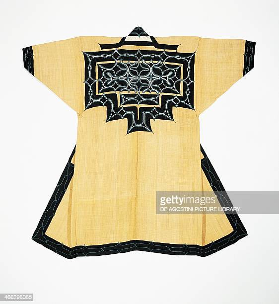 Ceremonial robe of the Ainu population with with traditional Ainu motifs chain stitch embroidery elm tree bark wool and cotton 126x1665 Japanese...