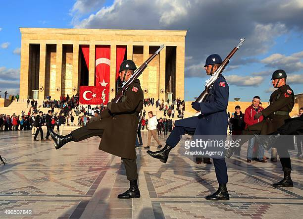Ceremonial soldiers march as the people visit the Anitkabir mausoleum of Mustafa Kemal Ataturk who is founder of the Republic of Turkey during the...