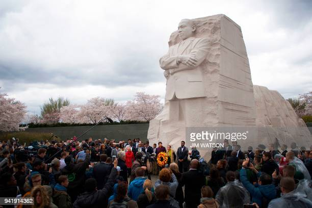 TOPSHOT A ceremonial wreath laying in honor of the 50th anniversary of the assassination of the Rev Martin Luther King Jr at MLK Memorial in...