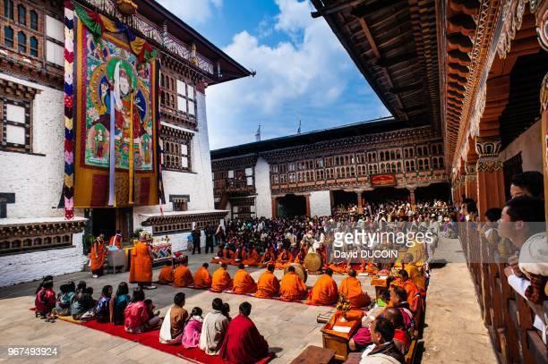 Ceremonie dans le monastere de Mongar le 20 mars 2013 pendant la journee internationale du bonheur Mongar Bhoutan