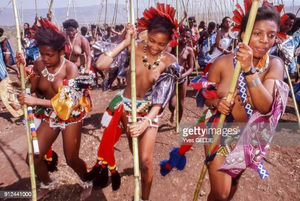 Ceremonie du Umhlanga lors d'un rassemblement Zoulou a Nongoma Afrique du Sud