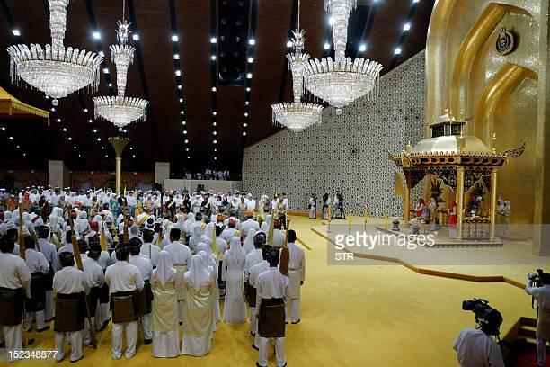 A ceremony ahead of the Royal Wedding of Princess Hafizah Sururul Bolkiah and her groom Pengiran Haji Muhammad Ruzaini is pictured taking place at...