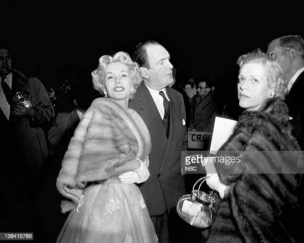 Ceremony AIr Date Pictured Actress Zsa Zsa Gabor husband/actor George Sanders unknown arrive at the 25th Annual Academy Awards New York ceremony held...