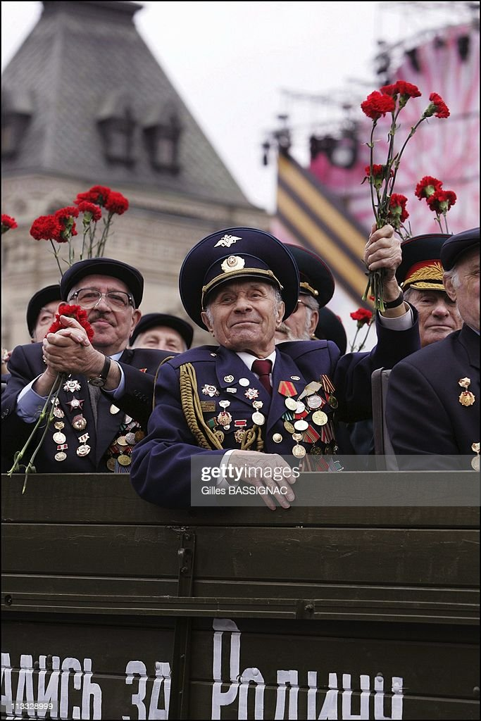 Ceremony And Military Parade On The Red Square For The 60Th Anniversary Of The 2Nd World War Allied Forces Victory On May 9Th, 2005 In Moscow, Russia - Russian War Veterans.