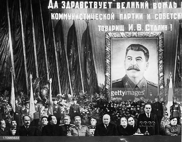 Ceremony at the bolshoi theater celebrating joseph stalin's 70th birthday seated from left to right are togliatti budenni kaganovich suslov mao...