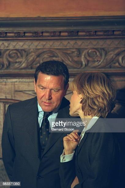 Ceremony at the Quedlinburg town hall German Chancellor Gerhard Schroeder and his wife