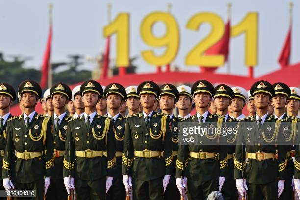 Ceremony celebrating the centenary of the Communist Party of China is held at Tian'anmen Square on July 1, 2021 in Beijing, China.