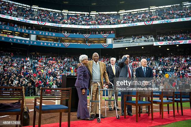 A ceremony honoring Hank Aaron's 715th home run takes place before the game between the Atlanta Braves and the New York Mets at Turner Field on April...