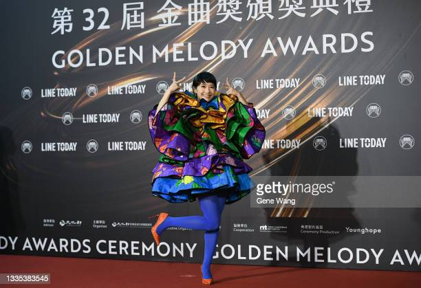 Ceremony host LuLu Huang(Huang Lu Tzu Yin)arrives at the 32nd Golden Melody Awards Ceremony at Taipei Arena on August 21, 2021 in Taipei, Taiwan.