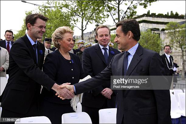 Ceremony in memory of the victory of the Second World War, the Arc de Triomphe In Paris, France On May 08, 2006 -Francois Baroin, minister of...
