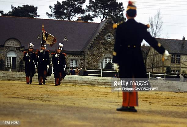 Ceremony in the courtyard of French military school of SaintCyr circa 1970 in SaintCyr France
