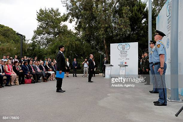 A ceremony is held for the raising of the United Nations flag at the Titanic Hotel where Midterm Review of the Istanbul Programme of Action in...