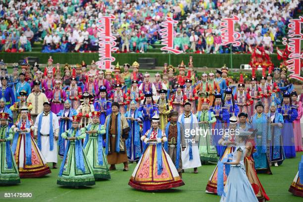 A ceremony is held to mark the 70th anniversary of the Inner Mongolia Autonomous Region in Hohhot the regional capital August 8 2017 Around 20000...