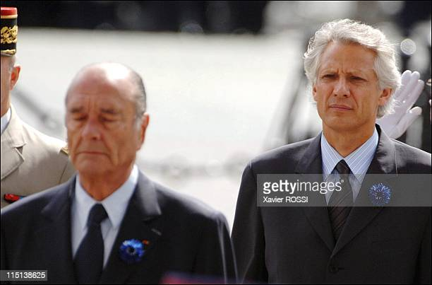 """Ceremony marking the end of the World War II at the"""" Arc de Triomphe"""" in Paris, France on May 08, 2006 - French president Jacques Chirac, French..."""