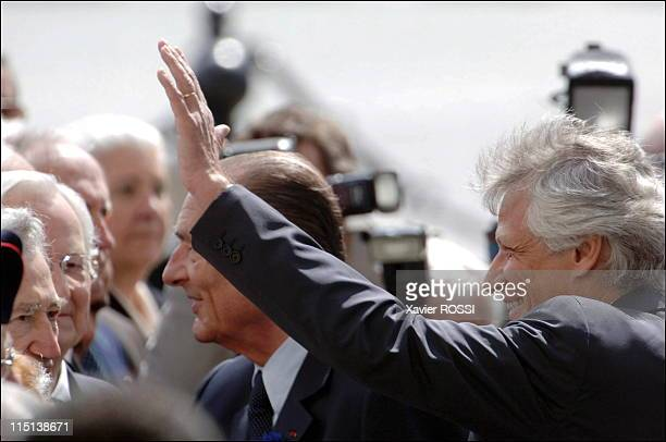 """Ceremony marking the end of the World War II at the"""" Arc de Triomphe"""" in Paris, France on May 08, 2006 - French president Jacques Chirac, Fench Prime..."""
