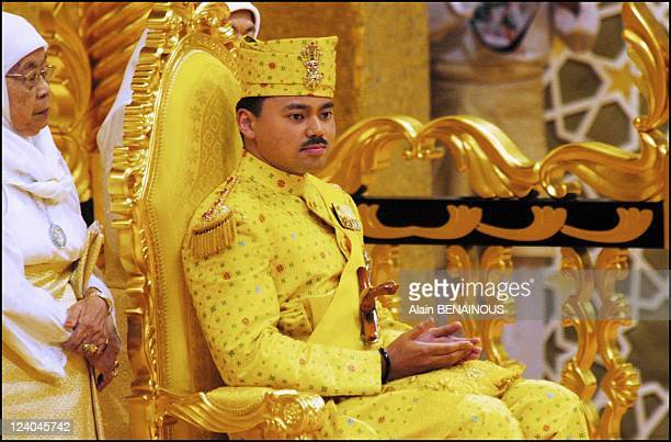 Ceremony of Berbedak at the throne chamber in the royal Palace for the wedding of Crown Prince of Brunei Haji Al Muhtadee Billah ibni Sultan Haji...