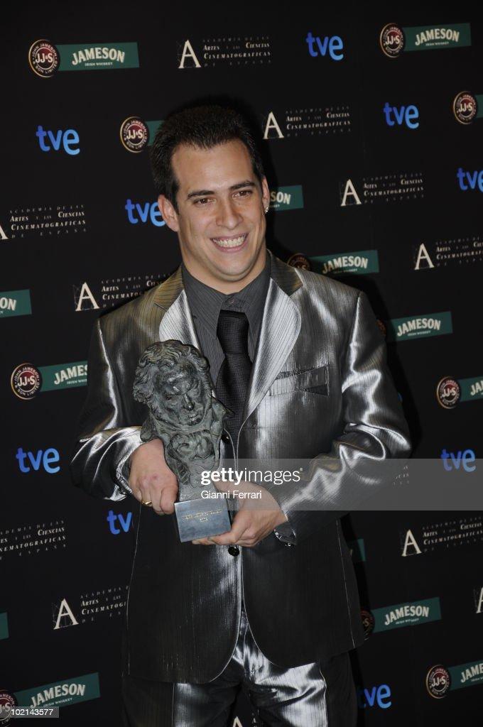 Ceremony of delivery of the cinematographic prizes 'Goya 2009', the actor Jose Luis Cuerda 'El Mangui', with the 'Goya' like actor revelation for 'El Truco del Manco', First Febrauary 2009, Palacio de Congresos, Madrid, Spain.