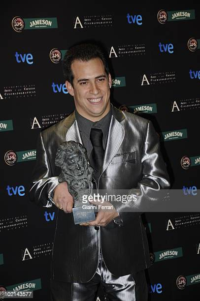Ceremony of delivery of the cinematographic prizes 'Goya 2009' the actor Jose Luis Cuerda 'El Mangui' with the 'Goya' like actor revelation for 'El...