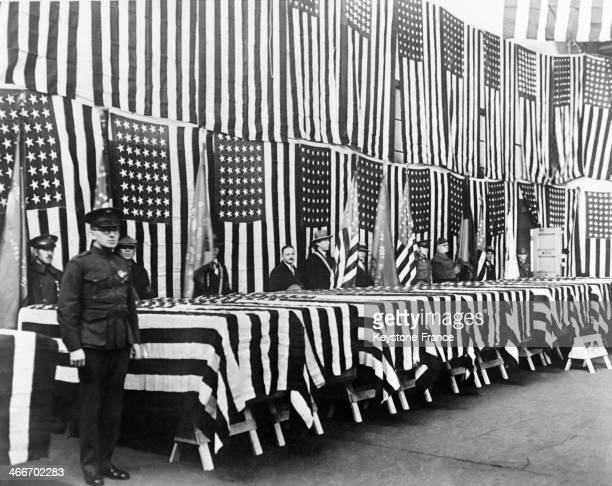 Ceremony of repatriation of the remains of American soldiers killed during the expedition of Arkhangelsk in 1918 1919 in coffins that are covered...