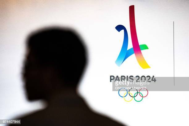 Ceremony of signing of joint funding protocol for the Paris 2024 Olympic Games and 2024 Paralympics games at the Paris City Hall on June 14 2018 in...